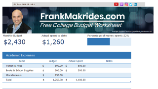Free College Monthly Budget Template Sample1 Phone