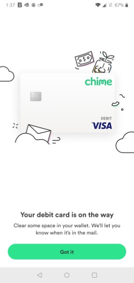 Chime Your Debit Card Is On Its Way